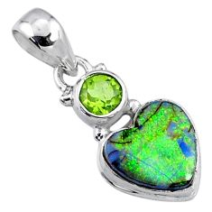 4.53cts multi color sterling opal peridot 925 silver heart pendant r64292