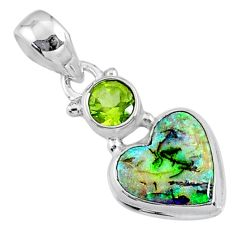 4.21cts multi color sterling opal peridot 925 silver heart pendant r64294