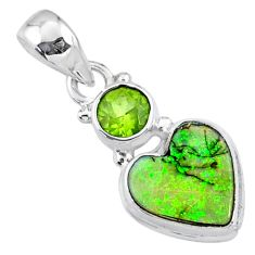 4.21cts multi color sterling opal peridot 925 silver heart pendant r64296