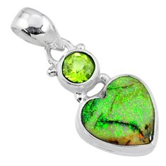 4.61cts multi color sterling opal peridot 925 silver heart pendant r64297