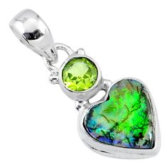 4.53cts multi color sterling opal peridot 925 silver heart pendant r64298