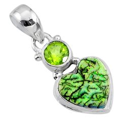 4.24cts multi color sterling opal peridot 925 silver heart pendant r64300