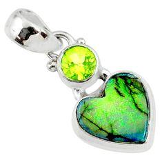 4.59cts multi color sterling opal peridot 925 silver heart pendant r64302