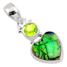 4.85cts multi color sterling opal peridot 925 silver heart pendant r64305