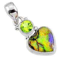 4.59cts multi color sterling opal peridot 925 silver heart pendant r64308