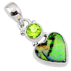 4.56cts multi color sterling opal peridot 925 silver heart pendant r64309