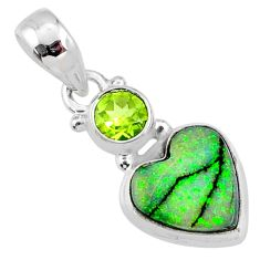 4.85cts multi color sterling opal peridot 925 silver heart pendant r64314