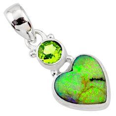 4.62cts multi color sterling opal peridot 925 silver heart pendant r64316