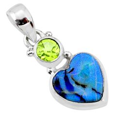 3.62cts multi color sterling opal peridot 925 sterling silver pendant r64375