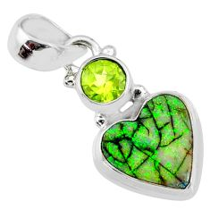 3.94cts multi color sterling opal peridot 925 sterling silver pendant r64376