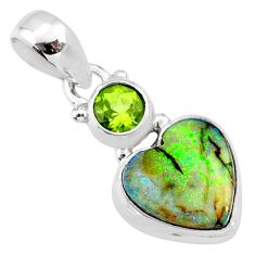 4.34cts multi color sterling opal peridot 925 sterling silver pendant r64378