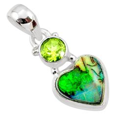 4.04cts multi color sterling opal peridot 925 sterling silver pendant r64379