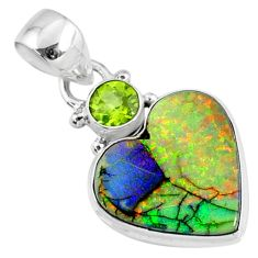 8.86cts multi color sterling opal peridot 925 sterling silver pendant r70242