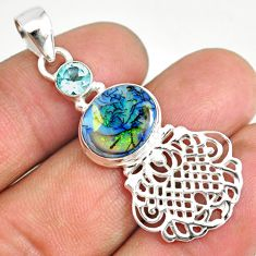 3.91cts multi color sterling opal topaz 925 sterling silver pendant r84572