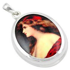 16.54cts multi color victorian princess cameo 925 silver pendant jewelry c21345