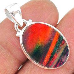7.18cts multi color volcano aurora opal (lab) 925 sterling silver pendant t16822