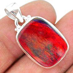7.55cts multi color volcano aurora opal (lab) 925 sterling silver pendant t16823