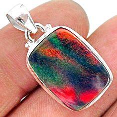 7.57cts multi color volcano aurora opal (lab) 925 sterling silver pendant t16833