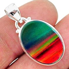 7.18cts multi color volcano aurora opal (lab) 925 sterling silver pendant t16835