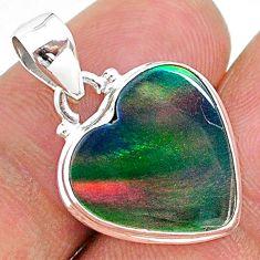 6.52cts multi color volcano aurora opal (lab) 925 sterling silver pendant t16842