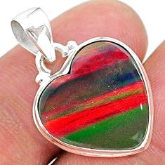 7.10cts multi color volcano aurora opal (lab) 925 sterling silver pendant t16847
