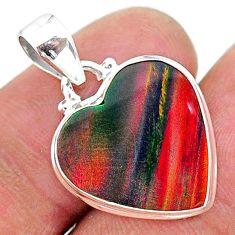 7.57cts multi color volcano aurora opal (lab) 925 sterling silver pendant t16852