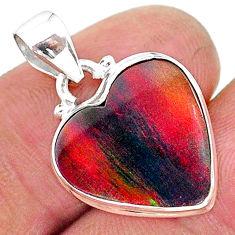 6.62cts multi color volcano aurora opal (lab) 925 sterling silver pendant t16856