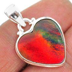 6.57cts multi color volcano aurora opal (lab) 925 sterling silver pendant t16866