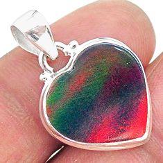 6.70cts multi color volcano aurora opal (lab) 925 sterling silver pendant t16872