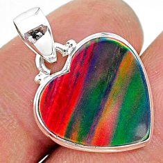 6.55cts multi color volcano aurora opal (lab) 925 sterling silver pendant t16879