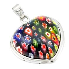 Multicolor italian murano glass heart 925 sterling silver pendant c21606