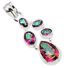 9.71cts multicolor rainbow topaz 925 sterling silver pendant jewelry r43003