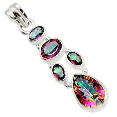 9.95cts multicolor rainbow topaz 925 sterling silver pendant jewelry r43005
