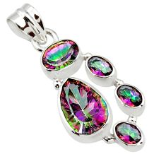 9.81cts multicolor rainbow topaz 925 sterling silver pendant jewelry r43006