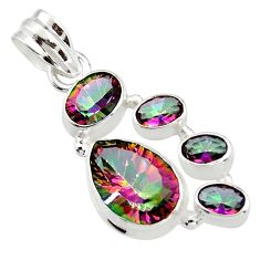 9.50cts multicolor rainbow topaz 925 sterling silver pendant jewelry r43008