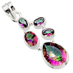9.63cts multicolor rainbow topaz 925 sterling silver pendant jewelry r43009