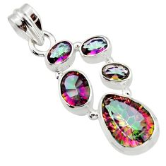 9.18cts multicolor rainbow topaz 925 sterling silver pendant jewelry r43010