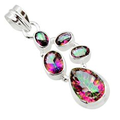 9.73cts multicolor rainbow topaz 925 sterling silver pendant jewelry r43011