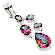 10.01cts multicolor rainbow topaz 925 sterling silver pendant jewelry r43012