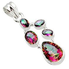 9.50cts multicolor rainbow topaz 925 sterling silver pendant jewelry r43014