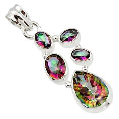 9.26cts multicolor rainbow topaz 925 sterling silver pendant jewelry r43016
