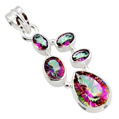 9.31cts multicolor rainbow topaz 925 sterling silver pendant jewelry r43018