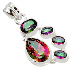 9.17cts multicolor rainbow topaz 925 sterling silver pendant jewelry r43019
