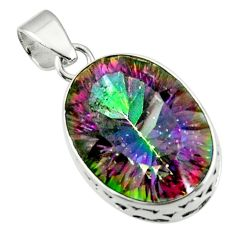 17.50cts multicolor rainbow topaz 925 sterling silver pendant jewelry r44453