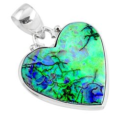 10.75cts multicolor sterling opal heart 925 sterling silver heart pendant r70116