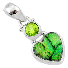 4.59cts multicolor sterling opal peridot 925 silver heart pendant r64319