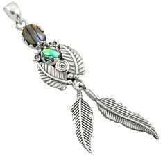 3.33cts natural abalone paua seashell 925 silver dreamcatcher pendant r67711