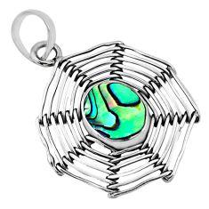 4.30cts natural abalone paua seashell 925 silver spider web pendant r67546