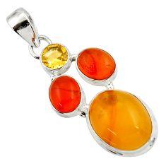 12.83cts natural amber bone cornelian (carnelian) 925 silver pendant d43057