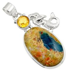 Clearance Sale- 28.86cts natural apatite (madagascar) 925 silver fairy mermaid pendant d43913